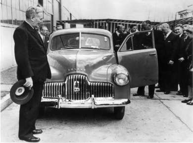 Prime Minister Ben Chifley and the first Australian made car, the Holden, 1948