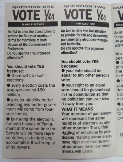 1988 pamphlet in favour of four-year terms