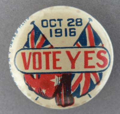 An image of a 'vote yes' political badge