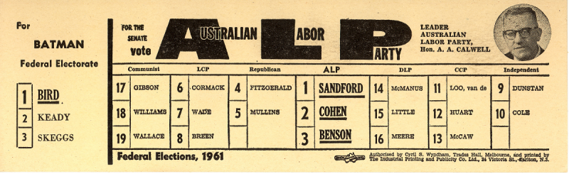 Labor how to vote card from 1961.