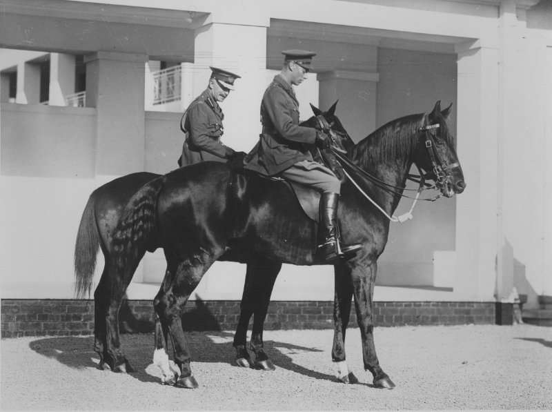 The Duke of York and the Governor-General astride horses