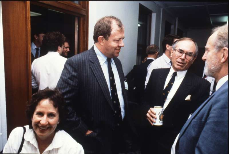 Opposition Leader John Howard joins colleagues for a beer. Photographer – Robert MacFarlane, Department of the House of Representatives, MoAD Collection.