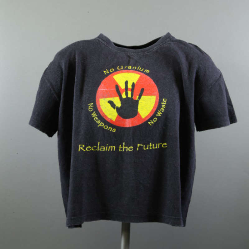 Anne Picot's 'No Uranium, No Weapons, No Waste, Reclaim the Future' t-shirt