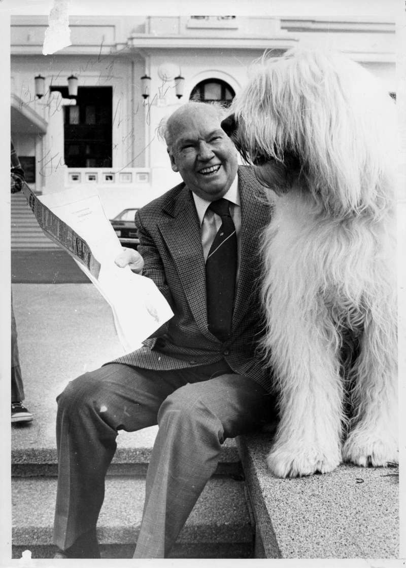 Sir John the sheep dog with his owner Fred Daly. Daly was a long-serving member of the ALP. MoAD Collection.