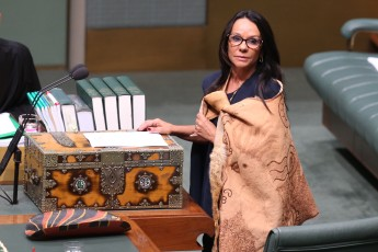 Linda Burney delivers her maiden speech at Parliament House in Canberra on Wednesday 31 August 2016. Credit: Fairfax