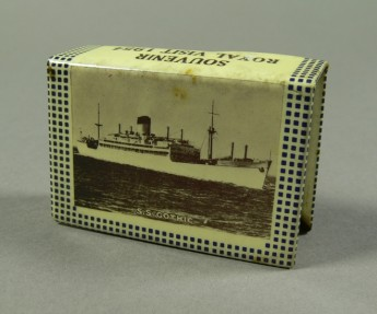 Matchbox holder commemorating the 1954 Royal Visit to Australia, with a photograph of the Royal Yacht S.S. Gothic on one side.