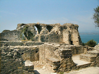 The ruins of a Roman villa known as the Grotte di Catullo, on the promontory of Sirmio.