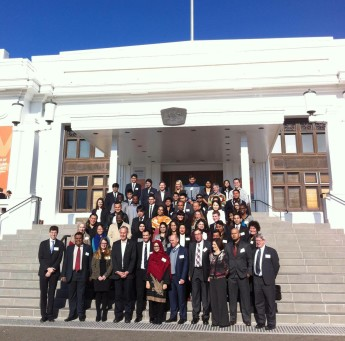 Model Global Parliament participants on the steps of Old Parliament House