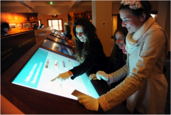 Students use RFID interactive technology in Designing Democracy, 2010. Photo: Marina Neil, Canberra Times.