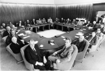 The third Gough Whitlam Ministry in the Cabinet Room, 1974. National Archives of Australia.