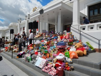 The front steps of Old Parliament House turn out to be ideal for a magnificent toy display.