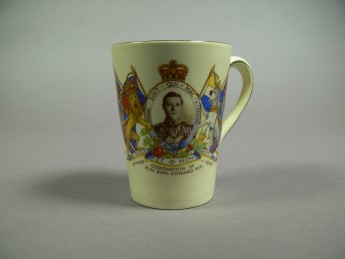 This coronation mug was produced for Edward VIII's big day, an event which never came due to a scandal that cost him the crown. Museum of Australian Democracy Collection.