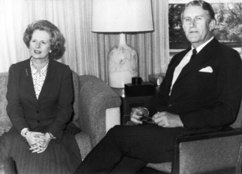 Australian Prime Minister Malcolm Fraser and British PM Magaret Thatcher in Canberra, 1st July 1979. The Age.