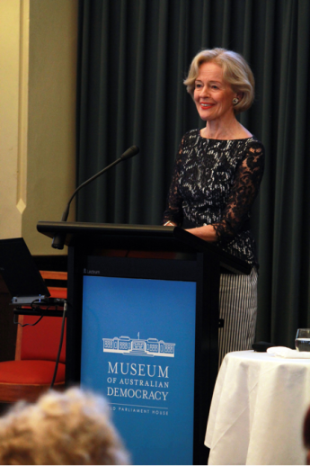 Governor-General Her Excellency Ms Quentin Bryce AC opening the Women, Leadership and Democracy in Australia conference at the Museum of Australian Democracy at Old Parliament House, 1 December 2011. Photograph courtesy of Government House