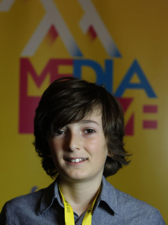Media literacy leader Oisin Taifernopoulos at the 2017 MediaMe media literacy conference in Sydney. Photo: Jacky Ghossein