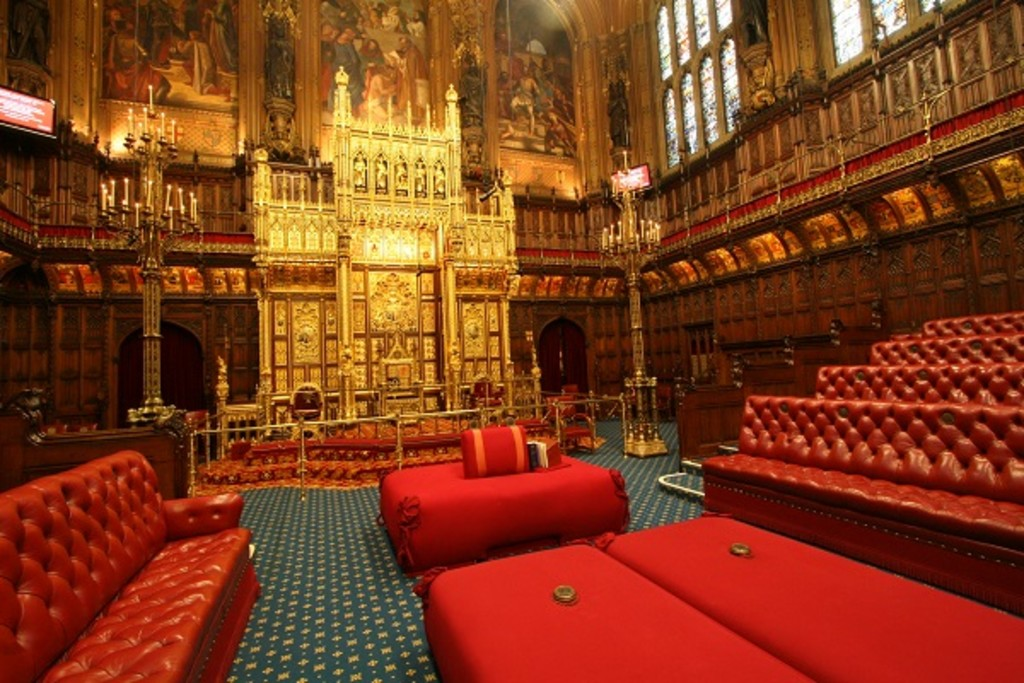The House Of Lords At Westminster. The Throne Is Seen At The Back. In