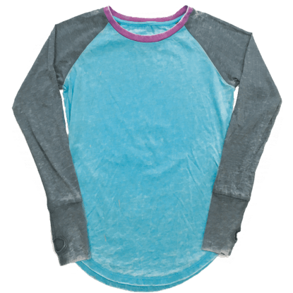 Picture of Burnout Turquiose/Grey Baseball Shirt