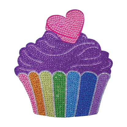 Picture of Rainbow Cupcake Rhinestone Decals