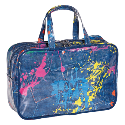 Picture of Paint Splatter Denim Large Cosmetic Bag