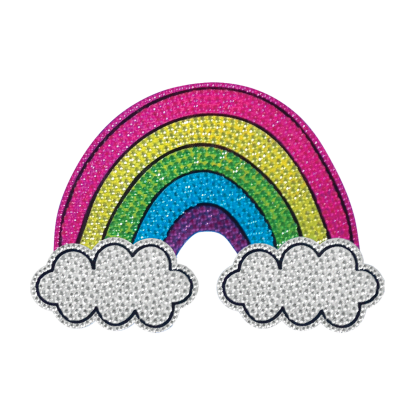 """Picture of Rainbow and Clouds Rhinestone Decals Large - 6"""" x 6"""""""