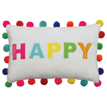 Picture of Happy Pom Pom Embroidered Pillow