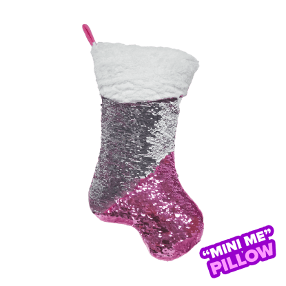Picture of Mini Pink Stocking Reversible Sequin Pillow