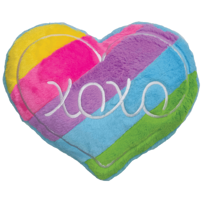 Picture of XOXO Rainbow Heart Scented  Furry Pillow