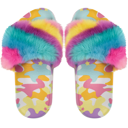 Picture of Rainbow Camo Fur Slides