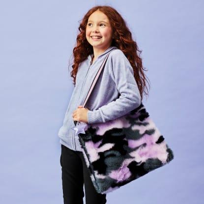 Picture of Purple Camo Furry Tote Bag