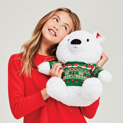 Picture of Ho Ho Ho Polar Bear Stuffed Animal