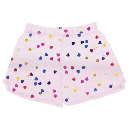 Picture of Colorful Foil Hearts Plush Shorts