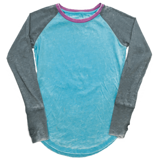 Picture of Burnout Turquoise/Grey Baseball Shirt