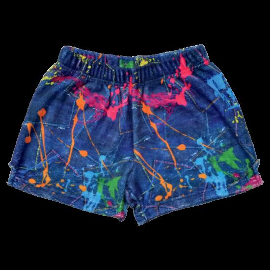 Picture of Paint Splatter Denim Plush Shorts