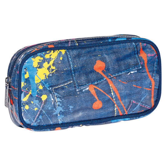 Picture of Paint Splatter Denim Small Cosmetic Bag