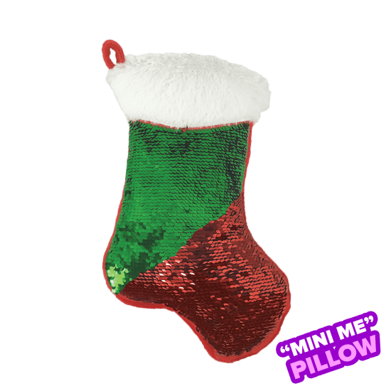 Picture of Mini Red and Green Stocking Reversible Sequin Pillow