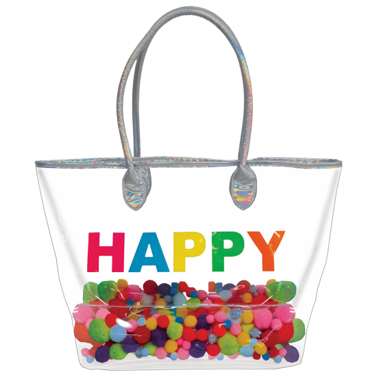 Picture of Happy Pom Pom Clear Tote Bag