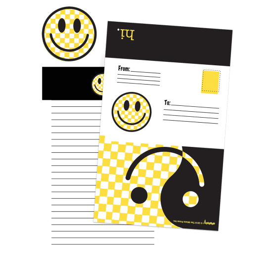 Picture of Checkered Smiley Face Foldover Cards
