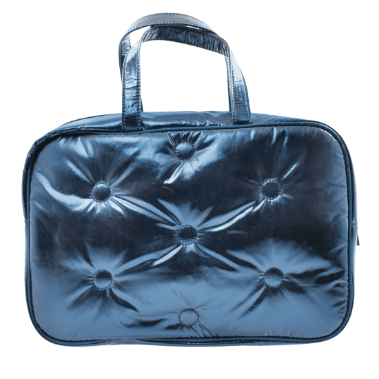 Picture of Blue Tufted Metallic Large Cosmetic Bag