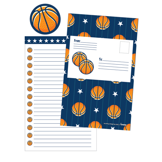 Picture of Basketballs and Stars Foldover Cards