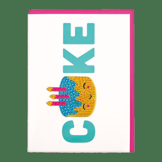 Picture of Birthday Cake Rhinestone Decal Greeting Card