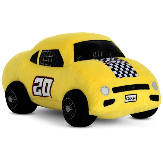 Picture of Yellow Race Car Fleece and Metallic Pillow