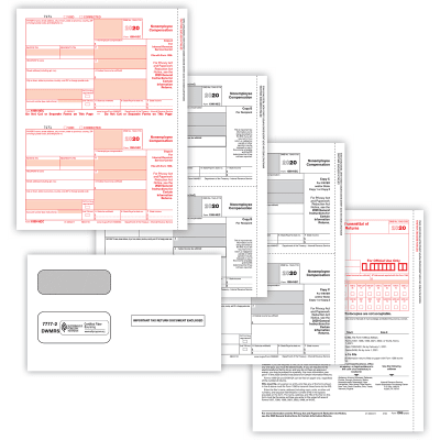 Picture of 2-Up 1099-NEC Convenience Set with Envelopes - 4 Part (10 Pack)