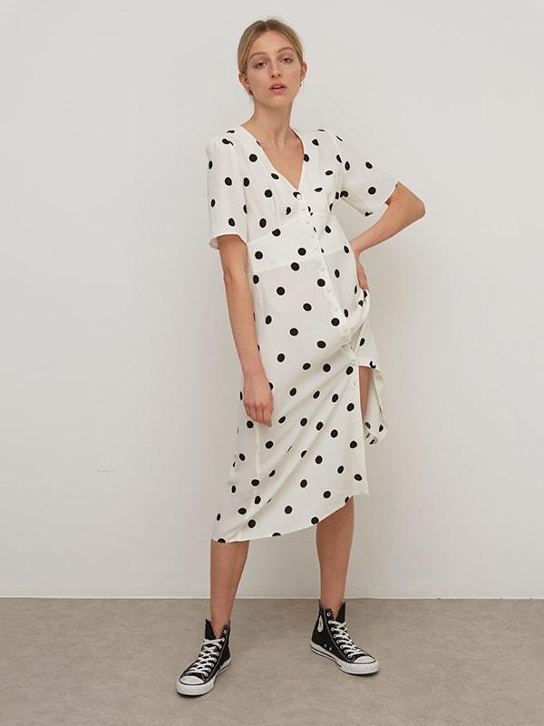 Lenzing EcoVero White and Black Spot Alexa Midi Dress