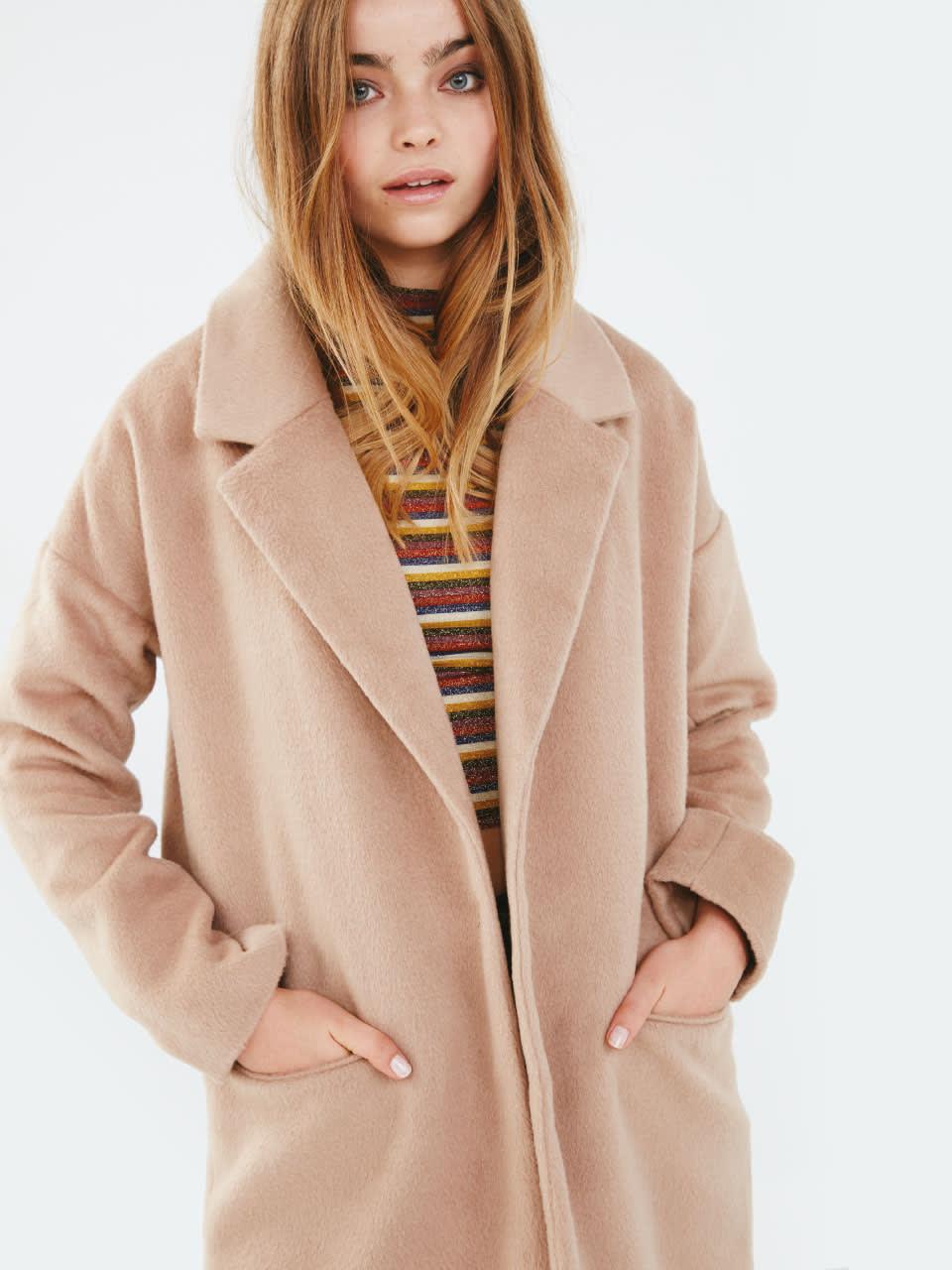 w Camel Boyfriend Coat