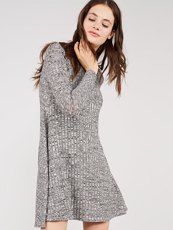 Grey Funnel Neck Swing Dress