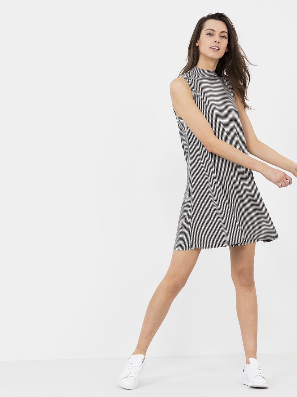 w BLACK/ECRU STRIPE HIGH NECK SLEEVELESS SWING DRESS