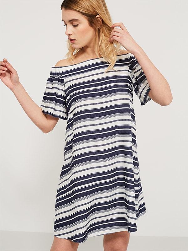 Navy/White Stripe Bardot Dress