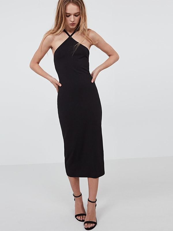 Black cross front bodycon midi dress
