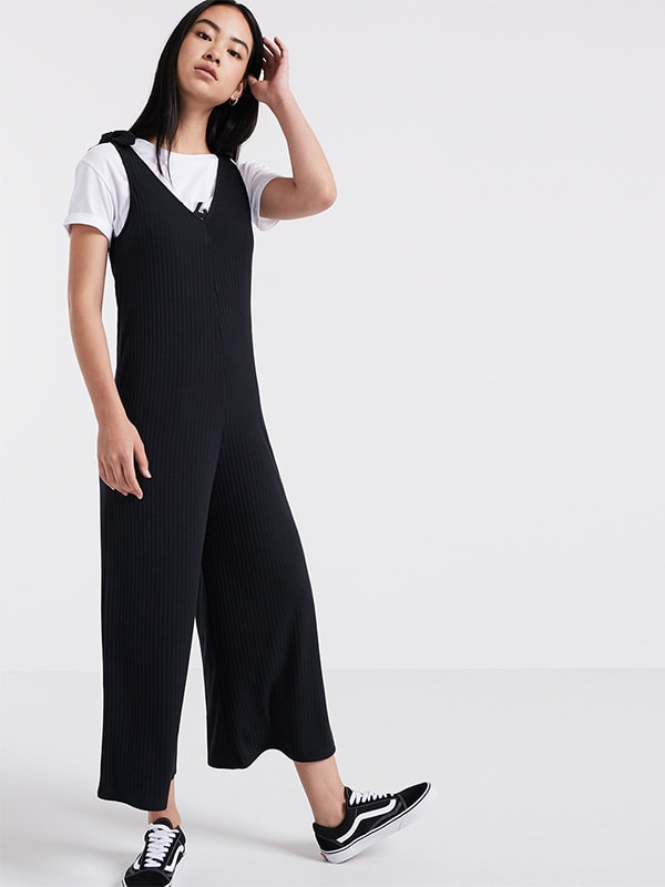 Black Tie Shoulder Rib Culotte Jumpsuit