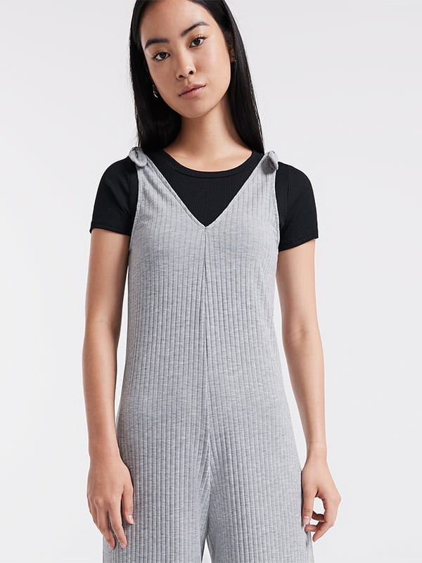 Tie Shoulder Rib Culotte Jumpsuit